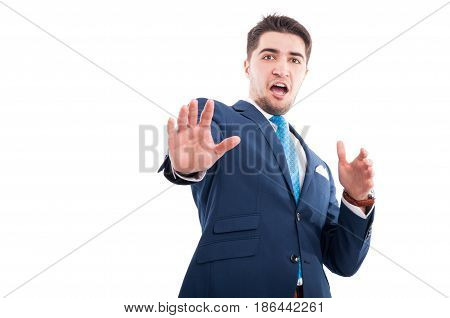 Handsome Salesman Being Scared Of Something