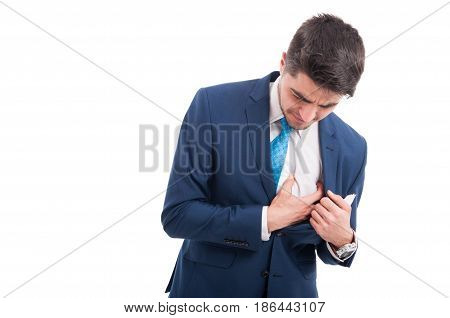 Sick Salesman Grabbing His Painful Chest With Hand
