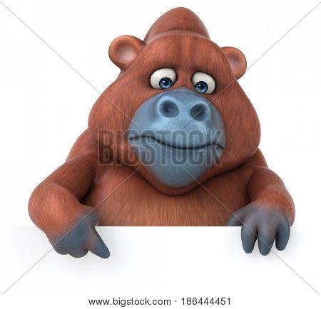 Fun Orangutan - 3D Illustration