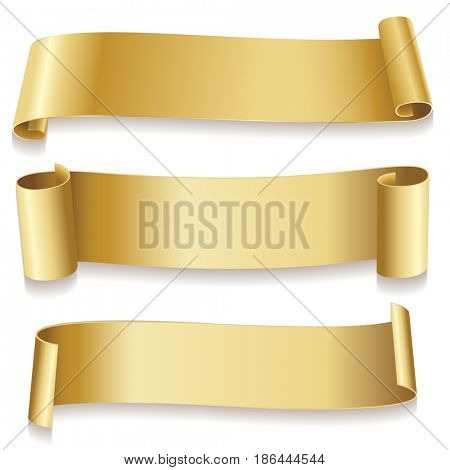 Ribbons golden isolated on white background. Holidays icon. illustration.
