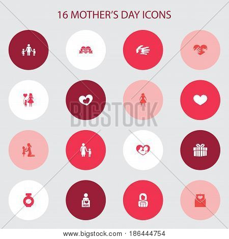 Mothers Day Icon Design Concept. Set Of 16 Such Elements As I Love Mom, Madame And Female. Beautiful Symbols For Woman, Playing And Heart.