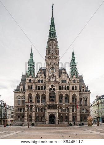 Liberec Town Hall, historical building in the city centre, Czech Republic.
