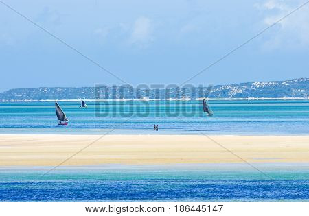 Scenic view of Mozambique coast and traditional fishing boats