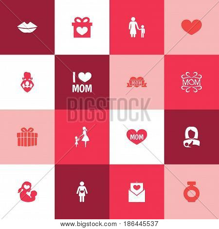 Mothers Day Icon Design Concept. Set Of 16 Such Elements As Protect, Mam And Mouth. Beautiful Symbols For Lips, Perfume And Woman.