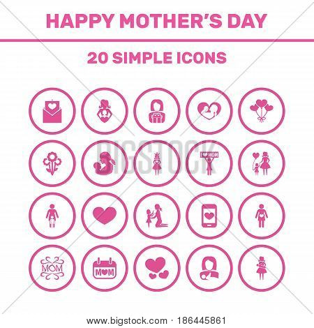 Mothers Day Icon Design Concept. Set Of 20 Such Elements As Daughter, Placard And Protect. Beautiful Symbols For Love, Lady And Pregnancy.