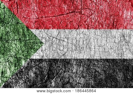 Grudge stone painted Sudan flag close up