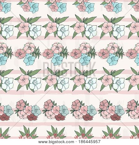 Vector seamless pattern. Rows of Exotic pink flowers. Floral wallpaper. Hand drawn illustration.