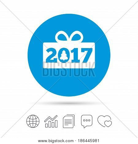 Happy new year 2017 sign icon. Christmas gift anf tree. Copy files, chat speech bubble and chart web icons. Vector