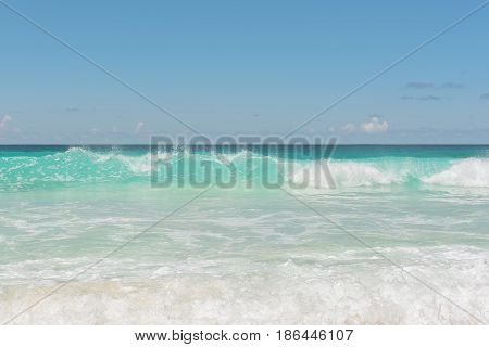 Empty beach and sea background with copy space