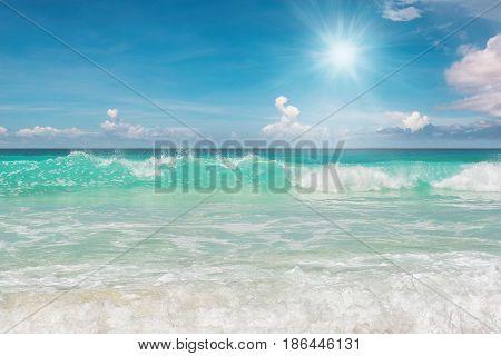 Sunrise at Tropical beach in Caribbean sea,