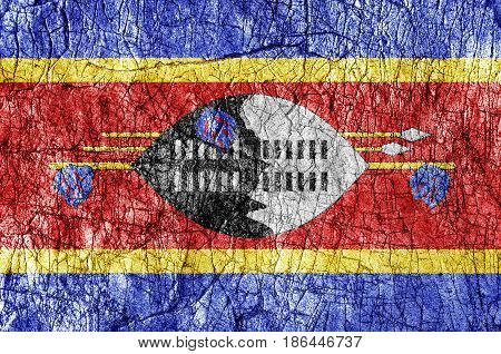 Grudge stone painted Swaziland flag close up