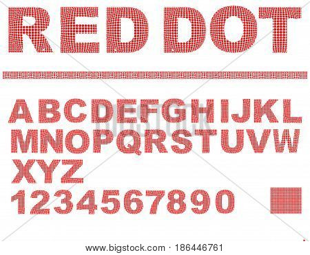 Alphabet in red dot texture design, uppercase letters, numbers, question and exclamation mark, vector EPS 10