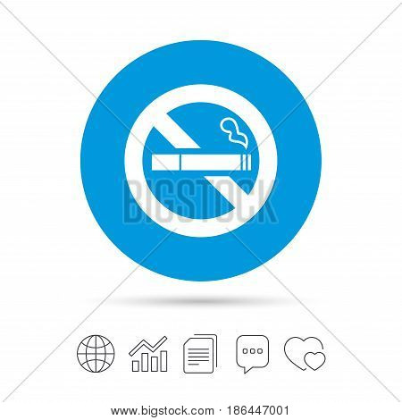 No Smoking sign icon. Quit smoking. Cigarette symbol. Copy files, chat speech bubble and chart web icons. Vector