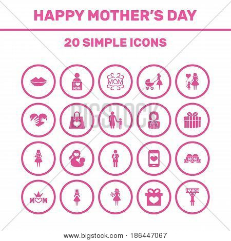 Mothers Day Icon Design Concept. Set Of 20 Such Elements As I Love Mom, Package And Woman. Beautiful Symbols For Son, Flower And Shopping.