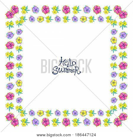 Floral frame with colorful exotic flowers. Nature square hand drawn border on white background. Vector decoration. Good for web, greeting cards and invitations.