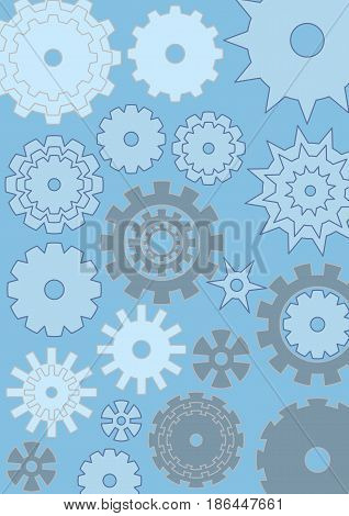 Cogwheels on blue background, techno design, gears in different size, white and grey, vector EPS 10