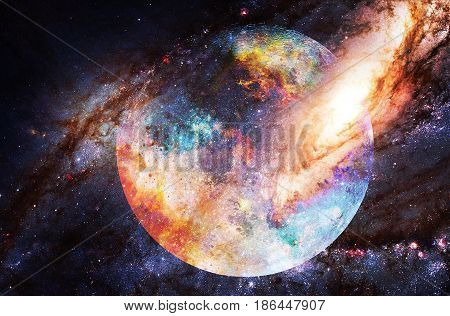 Cosmic Space And Moon. Color Cosmic Abstract Background.
