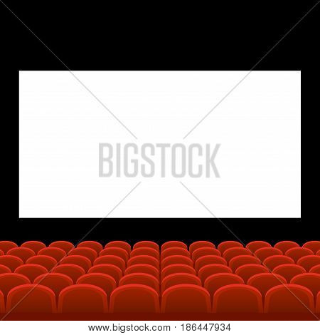 Cinema Movie Theatre with Red Seats and White Blank Screen. Vector illustration