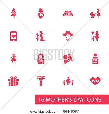 Mothers Day Icon Design Concept. Set Of 16 Such Elements As Gift To Mother, Decoration And Mother. Beautiful Symbols For Present, Playing And Screen.
