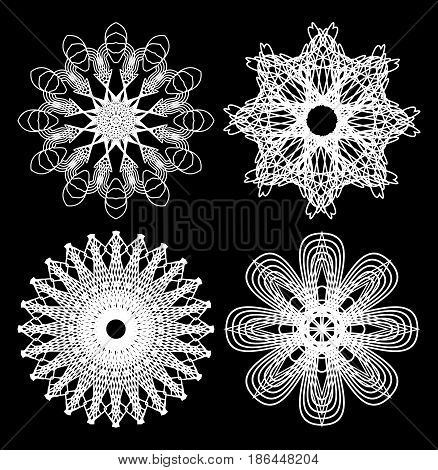 Spirograph circle lace patterns, design elements in white outline on black background, gorgeous symmetric geometric shapes, vector EPS 10