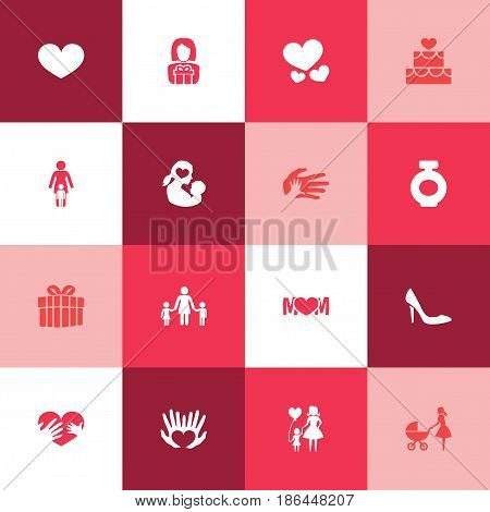 Mothers Day Icon Design Concept. Set Of 16 Such Elements As Design, Missus And Gift To Mother. Beautiful Symbols For Mother, Heart And Mom.