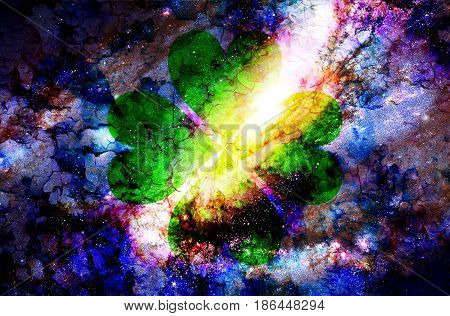 Four-leaf Clover From Heart And Color Cosmic Abstract Background And Crackle Effect.