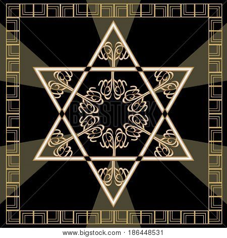 Star of David decoration tile with geometric vintage yew ornament in gold design. Israel national symbol magen. Davids star in golden frame. Hannukah decoration. High holy days, Yamim Noraim, vector