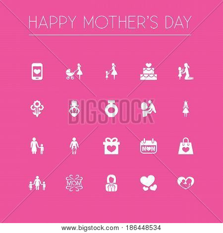 Mothers Day Icon Design Concept. Set Of 20 Such Elements As Relations, Fragrance And People. Beautiful Symbols For Smartphone, Lady And Baby.
