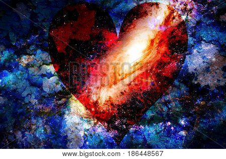 Heart In Cosmic Space, Color Cosmic Abstract Background. Crackle Effect.