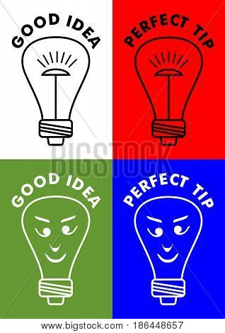 Good idea, perfect tip, four icons with lightbulb, bulb with emoticon face, vector EPS 10