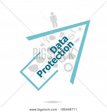Text Data Protection. Security concept . Data protection and secure elements inforgaphic set
