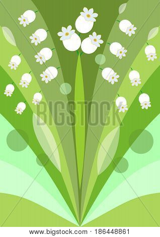 Modern stylized flower background with lily of the valley, decoration on green background, beautiful spring illustration, vector EPS 10