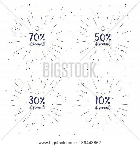 Vector handwritten calligraphy set Special Offer, Up, Mega Sale etc. Lettering collection for discount cards or advertising posters etc. Calligraphic phrase on white background with sunburst