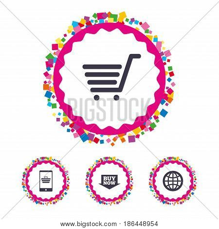 Web buttons with confetti pieces. Online shopping icons. Smartphone, shopping cart, buy now arrow and internet signs. WWW globe symbol. Bright stylish design. Vector