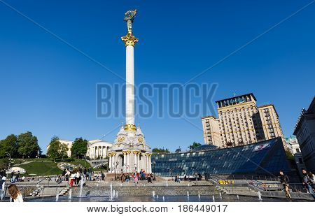 Independence Monument In Kiev Downtown