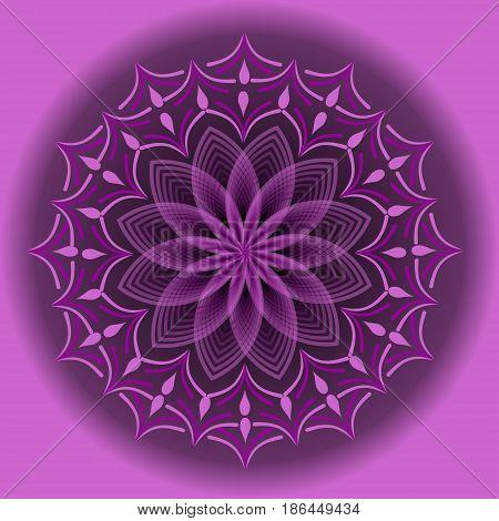 Light purple mandala in optical art style for spiritual training and meditation, vector EPS 10