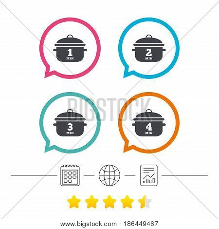 Cooking pan icons. Boil 1, 2, 3 and 4 minutes signs. Stew food symbol. Calendar, internet globe and report linear icons. Star vote ranking. Vector