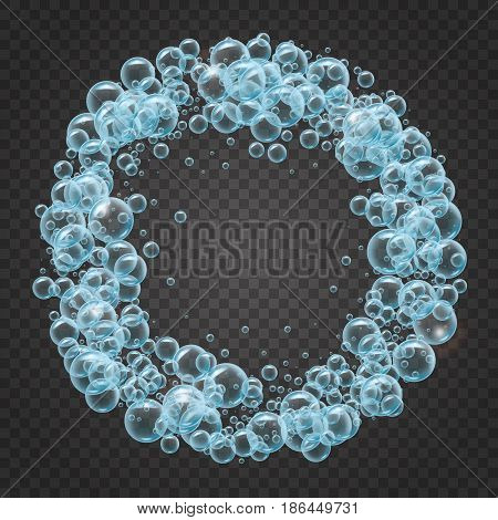 Shampoo round frame of cool water bubbles on transparent background. Cleaning liquid soap foam, shampoo bubbles in bath or shower. For banner, flyer, invitation. Swimming pool, aqua park, diving.