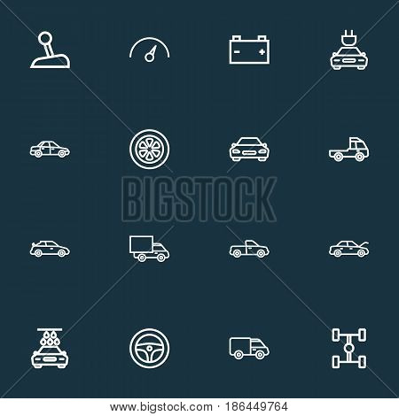 Car Outline Icons Set. Collection Of Wheel, Washing, Lorry And Other Elements. Also Includes Symbols Such As Wagon, Washing, Wheelbase.