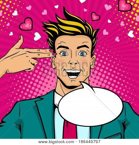 Wow pop art love male face. Young sexy surprised man with open mouth and speech bubble and female hand with two fingers like a revolver. Vector colorful illustration in retro comic style. Party invitation poster.