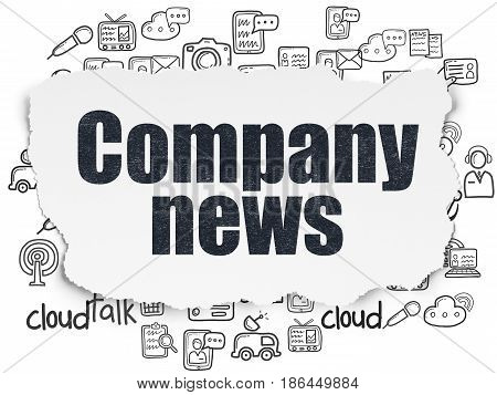 News concept: Painted black text Company News on Torn Paper background with  Hand Drawn News Icons