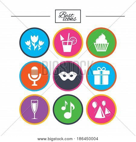 Party celebration, birthday icons. Cocktail, air balloon and champagne glass signs. Gift box, flowers and carnival symbols. Classic simple flat icons. Vector