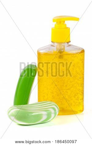 Soap liquid and solid isolated on white background.