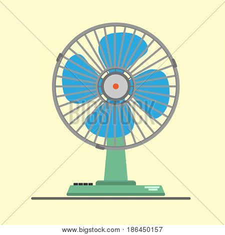 Desk air electric fan with button - Illustration
