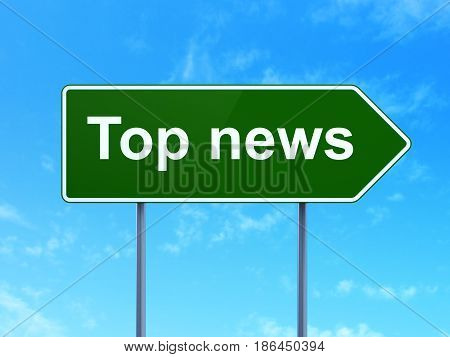 News concept: Top News on green road highway sign, clear blue sky background, 3D rendering