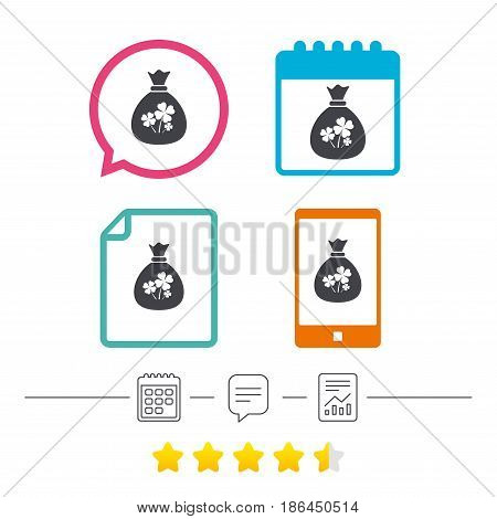 Money bag with Clovers sign icon. Saint Patrick symbol. Calendar, chat speech bubble and report linear icons. Star vote ranking. Vector