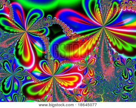Fractal image depicting multiple colourful butterflies for spring.