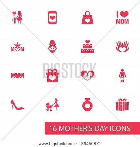 Mothers Day Icon Design Concept. Set Of 16 Such Elements As Present, Package And Pastry. Beautiful Symbols For Text, Package And Queen.