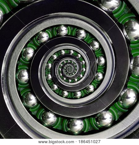 Beautiful green cage specific unusual Industrial clockwise Spiral Ball Bearing. Double spiral bearing manufacturing technology. Abstract fractal background spiral effect. Bearing industrial fractal
