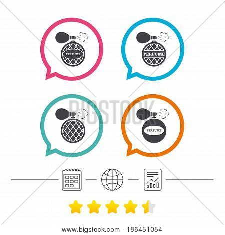 Perfume bottle icons. Glamour fragrance sign symbols. Calendar, internet globe and report linear icons. Star vote ranking. Vector